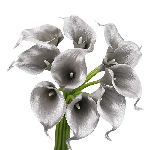 20pc Set of Keepsake Artificial Real Touch Calla Lily with Small Bloom Perfect for Making Bouquet, Boutonniere,Corsage (Metallic Silver Grey) ()