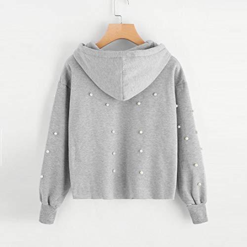 zahuihuiM De Gris Perle Casual Nouvelle Sweatshirt Hauts Femmes Longues Manches Mode Manteau 2018 d'hiver Hoodies Chandail rgqrAxO