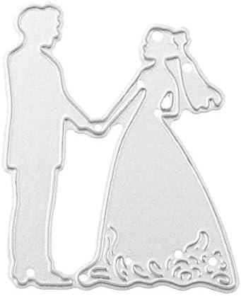 HEALLILY 花嫁と花gの切断死ぬ紙エンボス加工ステンシル金型合金スクラップブッキングダイカット用diyカード作り結婚式の装
