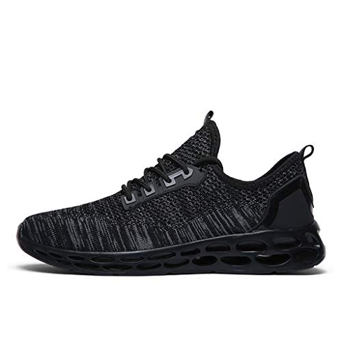 Hot!Ninasill Man Solid Color Splice Tied up net Breathable Light Sports Shoes Modern Running Shoes Fashion Casual Shoes Black ()