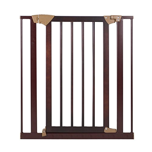 Baby Trend Tall Pressure Fit Wood And Metal Gate  Espresso
