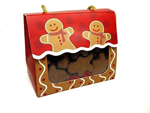 Stocking Man Gingerbread (Gourmet Dog Treats - Christmas Gingerbread Men Gift Box Sampler - Hand-crafted Organic Vegetarian Dog Treats - Christmas Assortment Stocking Stuffers - Made in the USA of human grade ingredients)