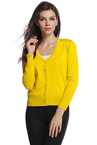 Sofishie Classic V-Neck Short Cardigan - Yellow -