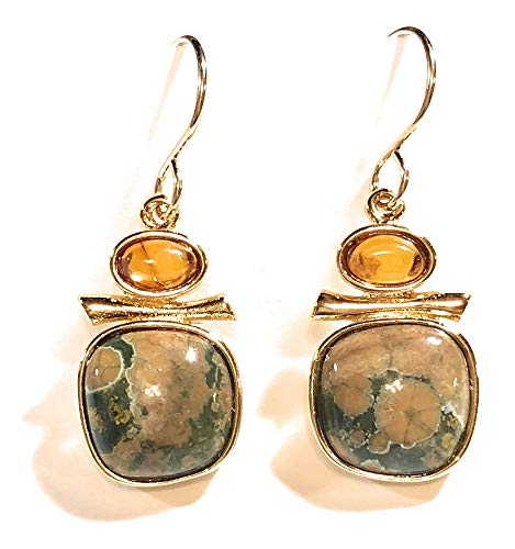 The Silver Sun Collections Sierra Art Works Genuine Amber Ryholite Earrings Set in 14K Gold vermail from Their Sierra Collection