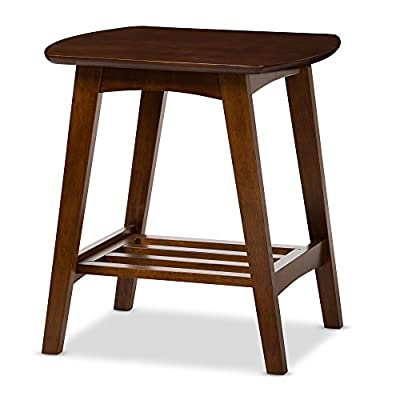Baxton Studio Sacramento Mid-Century Modern Scandinavian Style End Table, Dark Walnut - Mid-century modern end table Materials: solid rubber wood and MDF veneer Finish: Dark walnut - living-room-furniture, living-room, end-tables - 41n3ZozN5GL. SS400  -