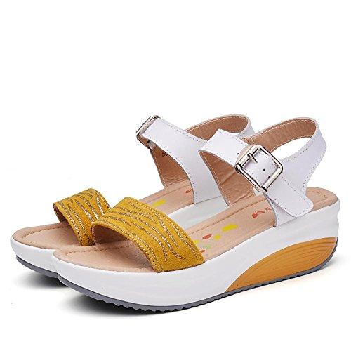 Sandalen L@YC Frauen Sommer 2017 Leder Dicke Sandalen LäSsige anti-Rutsch Einfache Flache Schuhe , yellow , 36
