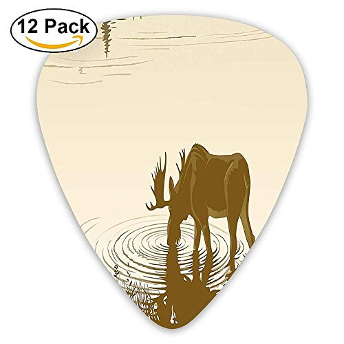 Silhouette Of Elk Drinking Water In Lake River Forest Wildlife Scenery Guitar Picks 12/Pack Set