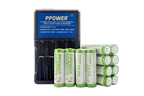 Ppower Pbe 12x 2600mah 3.7v 18650 Li-ion Rechargeable Battery + PPOWER 4 Slots Li-ion charger (PI4) + Battery boxes 2017 LATEST VERSION P-POWER (12x)