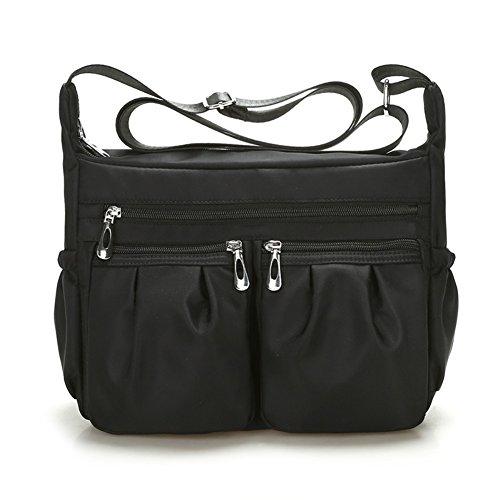 Bekilole Nylon Designer Shoulder Bag Crossbody Purse Messenger Multi Pocket Bag Weather Resistant Easy To Clean  Black