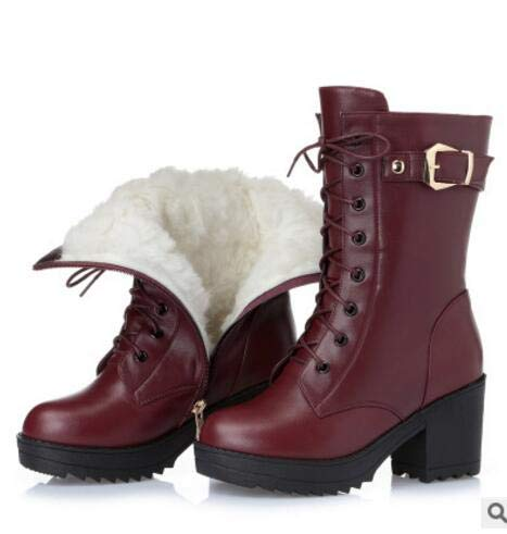Red Wool Fumak  High-Heeled Genuine Leather Women Winter Boots, Thick Wool Warm Women Martin Boots, Female Snow Boots