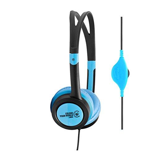 Urbanz VIBE (Black Edition) Leichte Kopfhörer mit Lautstärkeregler für Kinder (Schwarz / Blau)