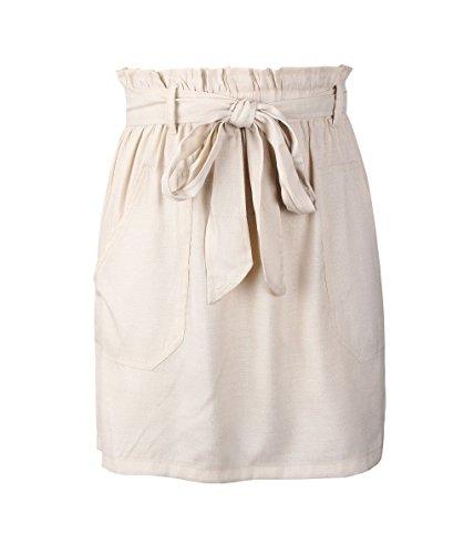 Haute Jupe Jupes Jupe avec Soire Femme Court t de Fashion Fte de Unie Blanc Bandage Plage Couleur Taille HXq7Sw