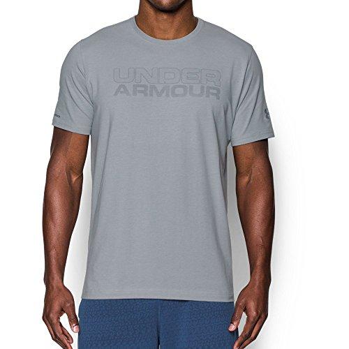 Under Armour Men's Mesh Gel Wordmark T-Shirt, Overcast Gray Medium/Clear, Medium