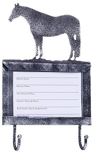 JT International Deluxe Silver Stall Card Holder w Hooks Qtr Horse