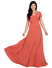 Womens Sexy Cap Short Sleeve V-neck Flowy Cocktail Gown