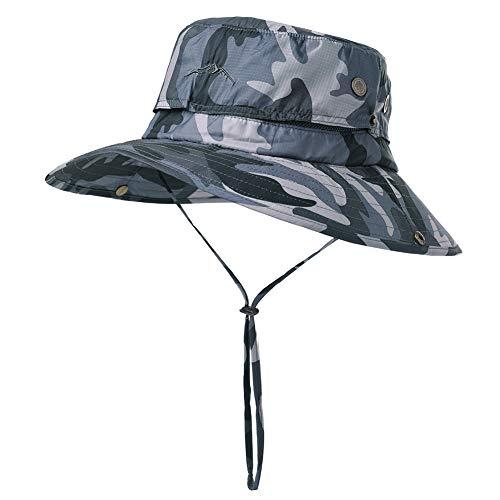 Fancet Mens Waterproof Safari Sun Packable Wide Brim Fishing Bush Rain Hat Bucket for Large Head Women Camouflage Gray 56-60cm