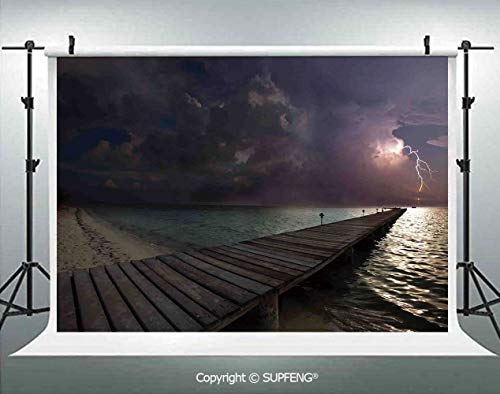 Photography Backdrops Horizon with Electrical Storm in The Sky View from A Wooden Deck on The Exotic Beach 3D Backdrops for Photography Backdrop Photo Background Studio Prop]()