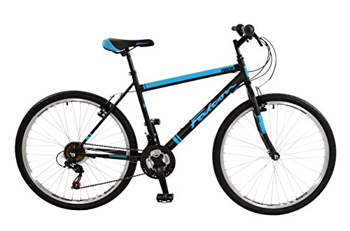 FalconEvolve 2016 Unisex Mountain Bike Blue/Grey, 19'' inch steel frame, 18 speed powerful front and rear steel v-brakes deep section alloy rims by Falcon