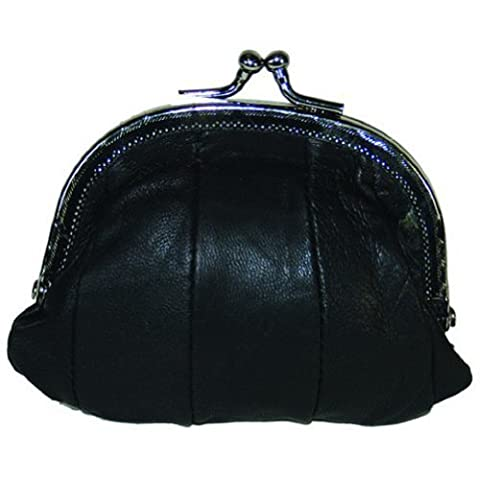 100% Leather Small Change Purse with Clasp BK