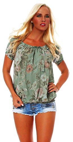 Carmen manches shell Arme floral blouse Bluse chemise ROSE BIG ZARMEXX viscose Damen courtes motif 50qZzw5Fx