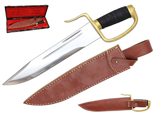 Genbu 15-inch 1095 Full Tang Water Tempered Wing Chun Butterfly Kung Fu Dao Bowie Knife with Leather Sheath