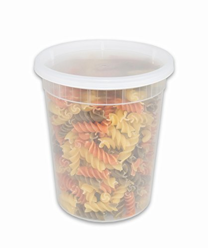 CucinaPrime Deli Containers with Lids, Heavy Duty Food Storage, 32 Ounce, 24 Count ()