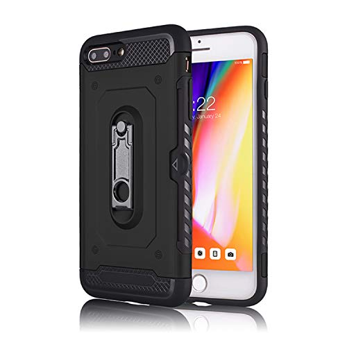 Power Slot Plus - DAMONDY iPhone 7 Plus,iPhone 8 Plus, Card Slot Metal Stand Kickstand Dual Layer Shock Protective with Rugged Hard Shell Skin Soft TPU Rubber Hybrid Tough Bumper Armor Case for iPhone 7 Plus-Black