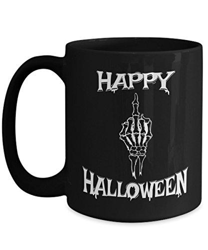Cute Ideas For Halloween Women (Halloween Coffee Mug Gift Idea For Women Men - Happy Halloween Skeleton Hand Black 15oz Ceramic)