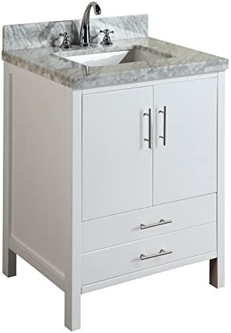 California 30-inch Bathroom Vanity Carrara White Includes a Modern White Cabinet, Soft Close Drawer Doors, Authentic Italian Carrara Marble Countertop, and Ceramic Sink