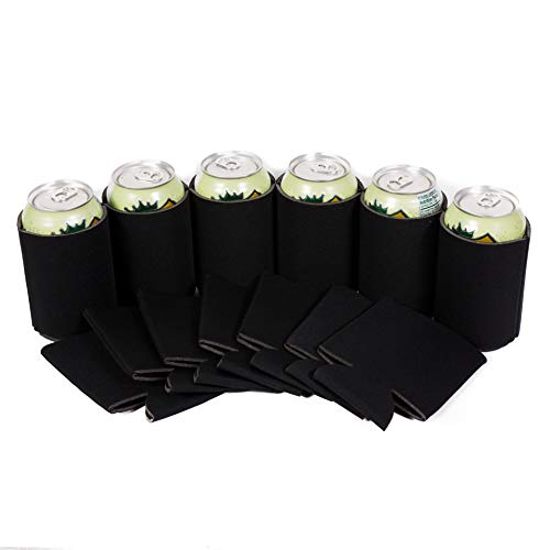 QualityPerfection 25 Black Party Drink Blank Beer Can Coolers(4,6,12,25,50,100 or 200 Bulk Pack),Soda Coolies Sleeves | Soft, Insulated Coolers | 30 Colors | Perfect For DIY Projects,Holidays,Events