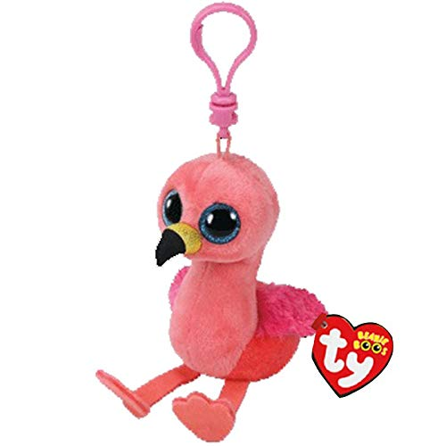JEWH Ty Beanie Boos Big Eyes Plush Keychain Toy Doll Fox Owl Dog Unicorn Penguin Giraffe Leopard Monkey Dragon with Tag 4[ 10cm] (Flamingo K)
