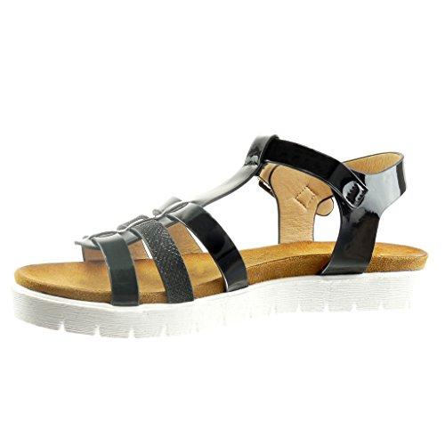 Angkorly - Chaussure Mode Sandale plateforme salomés ouverte femme peau de serpent brillant multi-bride Talon compensé 2 CM - Noir