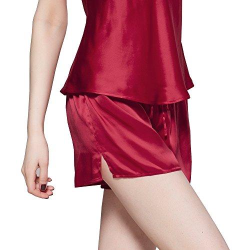 Seta di da 3 rosso momme pezzi di Donna Pigiama 22 Violetto taqPP6