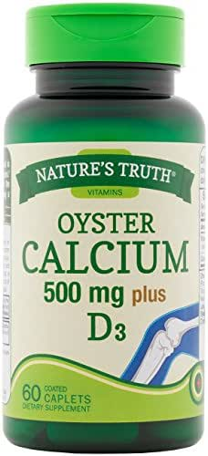 Nature's Truth Oyster Calcium 500mg Plus Vitamin D3 Tablets, 60 Count
