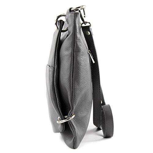 cuir à cuir Dunkelgrau sac sac modamoda sac en de NT07 bandoulière dames sac Messenger en ital 2in1 qxwYgzR
