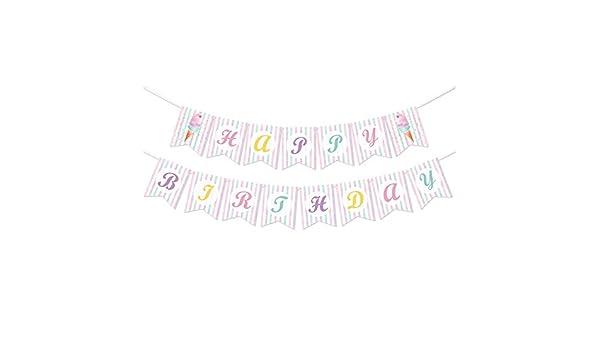 Decoraciones de Fiesta Tem/áticas de Helados para Ni/ñas Verano Piscina Playa Fiesta HAPPY BIRTHDAY Guirnalda Bunting con Colores de Fondo WERNNSAI Pancartas de Cumplea/ños de Helado