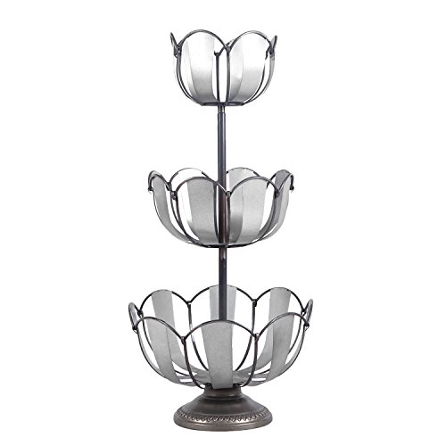 Adeco 3-Tier Lotus Style Metal Fruit Basket / Silver Grey by Adeco