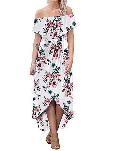 lexiart Off Shoulder Bodycon Dress Strapless Flower Hawaiian Dress Beach Summer White M]()
