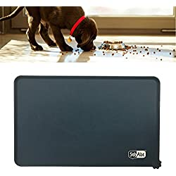 SthAbt - Premium Pet Feeding Mat Silicone Made Waterproof Non-Slip Wet Food Tray Mat Water Fountain Pad with Lip for Cat and Dog Bowls Large