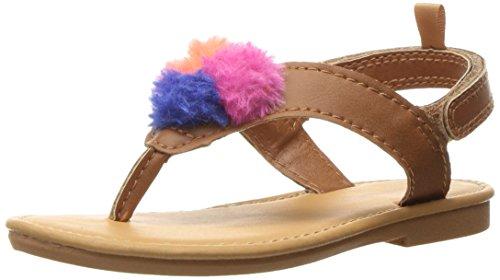 carter's Girls' Fia Multi Pom Sandal, Brown, 8 M US Toddler