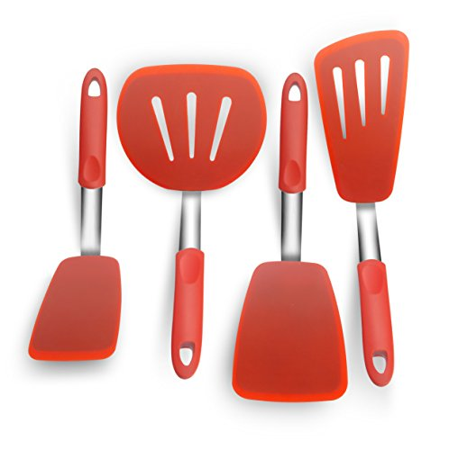KaraMona Silicone Spatula 4-piece Set High Heat Resistant FDA Approved & BPA Free, Silicone Kitchen Utensil Set, Regular & Wide Slotted Silicone Spatula, Large & Long Slotted Silicone (Coated Utensils)