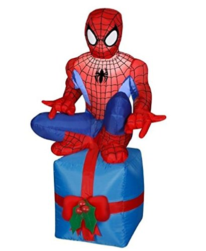 Gemmy Airblown Inflatable Spiderman Sitting on Blue Present with Red Ribbon - Indoor Outdoor Holiday Decoration, 3.5-foot - Man Inflatable Spider