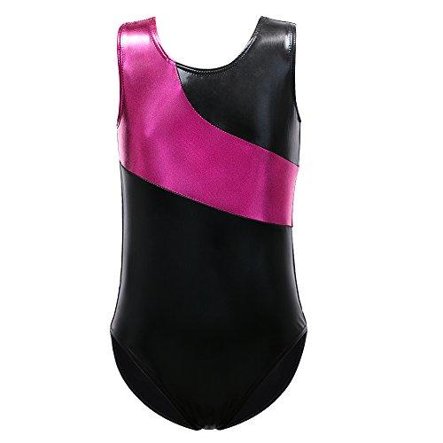 Soft and Stretchy Fabric Ballet Gymnastics Leotard For Little Girls (140(7-8Y), Hotpink-Black)