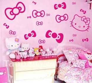 Perfect Hello Kitty Wall Stickers, Bow Princess Childrens Wall Vinyl Art Decal,  Choose Your Colour