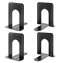 GOMILE 2 Pair Metal Heavy Duty Bookends for Shelves Desk Saving Space for Books CDs DVDs MagazinesOrganizer