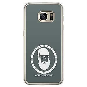 Loud Universe Samsung Galaxy S7 Edge Christmas 2014 Green Santa Badge Printed Transparent Edge Case - Green/White