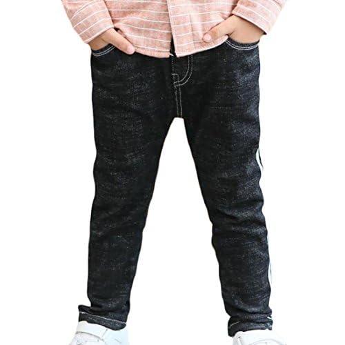 top Qiangjinjiu Boy's Winter Brief Jeans With Fleece Lining