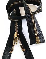 "2pcs #5,Inch Zippers for Jackets Sewing Coats Crafts Brass Separating Jacket Zippr Metal Zipper Heavy Duty ("" Antique Brass) Leekayer"
