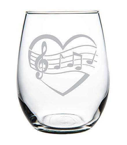 Heart, Music 15 oz. stemless wine glass