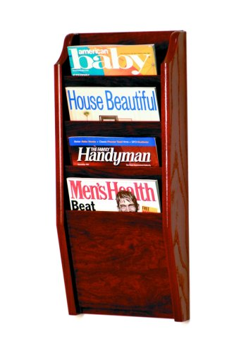 Wooden Mallet 4 Pocket Cascade Magazine Rack, Mahogany Mahogany Wall Magazine Holder